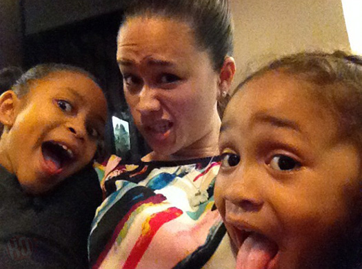 Lil Wayne's baby mother Sarah Vivan with her two children Dwayne Michael Carter III and Essence